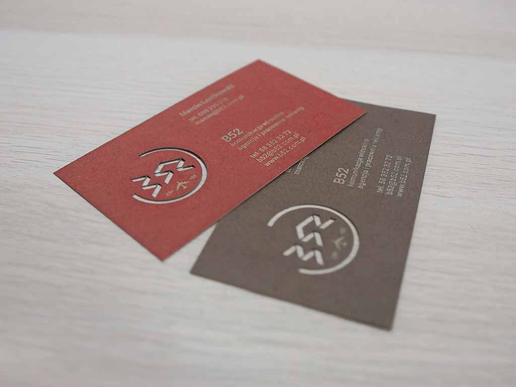 wycinane laserowo grawerowane wizytówki agencja reklamowa Gdańsk / laser cut engraved business cards advertising agency Poland / lasergeschnittene gravierte Visitenkarten Werbeagentur Polen